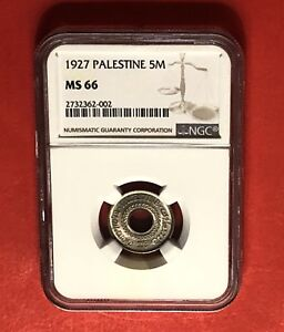 PALESTINE -UNCIRCULATED 5 MILS 1927 NGC MS66... RARE IN THIS HIGH GRADE