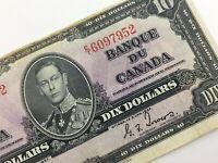 1937 Canada 10 Dollar Circulated ET Prefix Coyne Towers Banknote R197