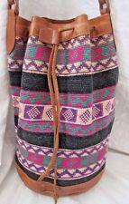 Vintage Hippie Boho Festival Beach Handwoven Bucket Purse -Leather Trim