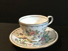 "AYNSLEY PEMBROKE FLORAL & BIRD WITH GOLD TRIM  2 5/8"" FOOTED CUP AND SAUCER SET"
