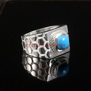 Natural Turquoise Gemstone with 925 Sterling Silver Ring for Men's #5761