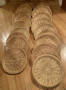 Vintage Retro Woven Wicker Rattan Bamboo Picnic Paper Plate Holders set of 20
