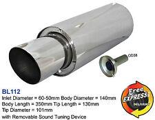 """Universal performance exhaust muffler round 60m tip 4"""" 101mm for Subaru Impreza"""