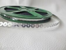 100 yard reel of 6.5mm Flat Sequins NOT strung but in continuous length: SILVER