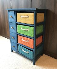 Unidad de almacenamiento Cómoda Azul Cestas De Lona Niños Dormitorio Muebles Del Gabinete