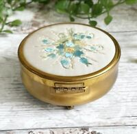 Pretty Vintage Metal Trinket Box With Floral Blue Embroidered Lid