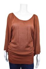 Arden B. Tunic Top Size M Knit Rust Brown Metallic Scoop Neck Criss Cross Back