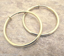 """Large Gold Gp HOOP CLIP Earrings 2"""" Diameter 3mm Clipon Shiny Classic Style New"""
