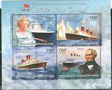 CENTRAL AFRICA  CUNARD LINE QUEEN ELIZABETH II RMS TITANIC SHEET MINT NH