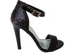 Black Glitter Dress Open Toe Ankle Strap Stilettos Heels Sandals Shoes 9