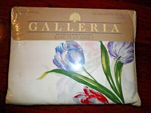 VINTAGE GALLERIA TULIPS FLORAL PURPLE PINK  KING/CALIFORNIA KING FLAT SHEET