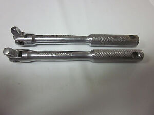 "2pc HERBRAND 1/4"" DRIVE FLEX HEAD BREAKER BAR 23006 USA EXTENSION RATCHET SOCKET"