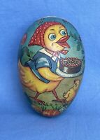 "3.25"" Vtg Germany GDR Paper Mache Easter Egg Candy Container Hen with Cake Chick"