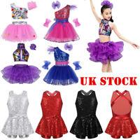 Child Girl Modern Jazz Dance Dress  Sequins Leotard Tap Hip Hop Street Dancewear