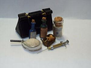 Dollhouse miniature handcrafted Medical antique set doctors bag bottle 1/12th