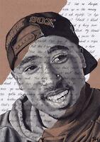 Tupac Shakur Portrait, signed Giclée art print with changes lyrics, 2pac drawing