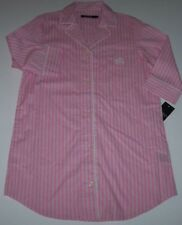 NWT Ralph Lauren PINK/GREEN/WHITE Stripes Sleep Shirt Nightgown Gown M Cotton