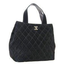 CHANEL Quilted CC Logos 2way Hand Tote Bag Black Suede 6849526 Vintage NR15450