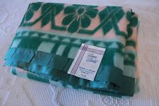 Vintage BEACON Blanket Southwest Green Flower Design W/ Label Kismet 70 x80