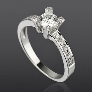 4 PRONGS 1.08 CT 18 KT WHITE GOLD DIAMOND SOLITAIRE & ACCENTS RING VS1 NATURAL