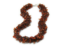 Orange Carnelian Crochet Necklace - Multistrand Beaded Crochet Gemstone Necklace