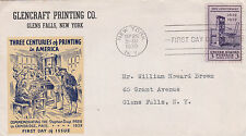United States 1939 300 years of Printing in America Glencraft Printing FDC Used