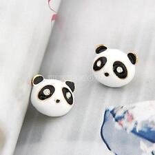 1 Pair Fashion Women Lady Gold Color Panda Ear Stud Earrings Jewelry