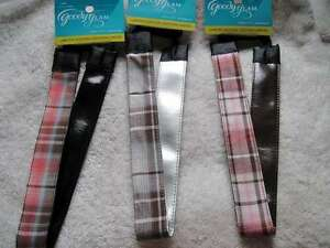 3 Goody Glam Wide Reversible Shiny Silver Pleather Plaid School Girl Headbands