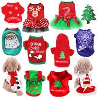 Christmas Santa Pet Clothes Warm Coat Cat Dog Hoodie Puppy Jumpsuit Vest Costume
