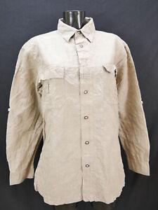 Gr.M Trachtenhemd Landhaus C&A Naturally braun mit Stickerei prima Hemd TH2336