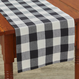 """Park Designs WICKLOW 13""""x 36"""" Backed Table Runner Black, Candlelight White Check"""