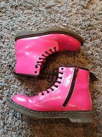 Girls Dr Martens Adult Size 2 UK EU 34 Style 'DELANEY' Pink boots Doc Martens