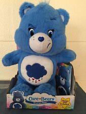 "Care Bears GRUMPY BLUE Bear Medium 12"" Stuffed Plush w Episode DVD Just Play NEW"