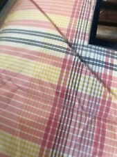 Chaps Home Full Queen Comforter Pink Blue Yellow White Plaid Nip