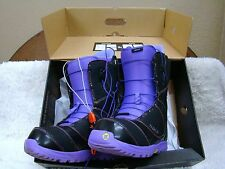 Pair of Black and Purple Burton: Mint Brand Snowboarding Boots, Women's Size 8.5