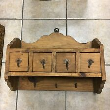 Rustic Hand-Made Wooden Wall Hanging Shelf W/ Iron Hooks & 4 Drawers