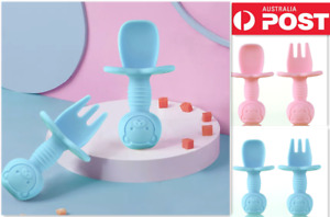 Baby Spoon&Fork Toddler Utensils Self Feeding Training Silicone Cutlery Sets