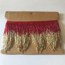 "5yd Bolt 6"" RED/GOLD Glass BUGLE Bead Beaded Fringe CHEVRON Lamp Costume Trim"