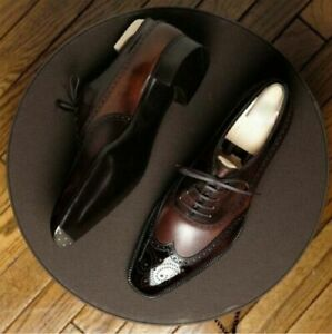 NEW-Mens Handmade Two Tone Brown Brogue Lace Up Shoes Brown Dress shoes For Men