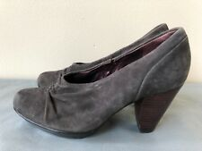 INDIGO By Clarks Women gray Nubuck Suede Heels Shoes Size 6M