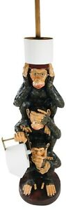 Toilet Roll Holder Resin Monkeys Bathroom LOO Model Hand Painted Home Decor 82cm