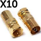 10x F-Type Connector Male to TV Aerial Socket Female Adapter - RF Coax Converter