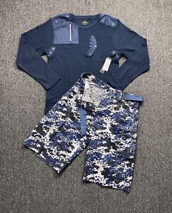 Men's Casual Outfit Series Long Sleeve Thermals & Cargo Shorts Set (6 Designs)