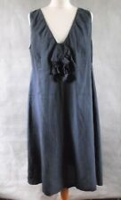 AVOCA ANTHOLOGY pure linen bilberry blue dress size 4 UK 14 16