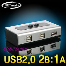 2 Port USB 2.0 Manual Sharing Switch BOX Printer Scanner 2:1 1A 2B SELECTOR NEW