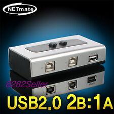 2 Port USB 2.0 Manual Sharing Switch BOX Printer Scanner 2:1 1A 2B SELECTOR NEW