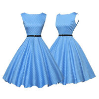 Womens Vintage 1950s 1960s Rockabilly Evening Party Prom Polka Dot Swing Dress