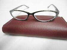 Black/Clear Spotted Cat-Eye Frames Non-Prescription St6938R Italy Design +2.00