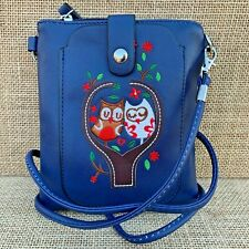 Blue Owl small Cross body Bag with Smart Phone Spectacle Holder Long Strap