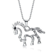 Fashion Women Horse Shape Silver Plated Long Chain Pendant Necklace Gift
